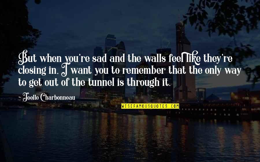 Joelle Charbonneau Quotes By Joelle Charbonneau: But when you're sad and the walls feel