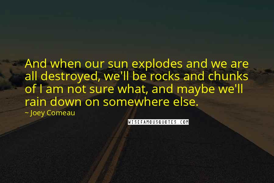 Joey Comeau quotes: And when our sun explodes and we are all destroyed, we'll be rocks and chunks of I am not sure what, and maybe we'll rain down on somewhere else.