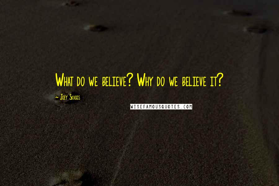 Joey Skaggs quotes: What do we believe? Why do we believe it?