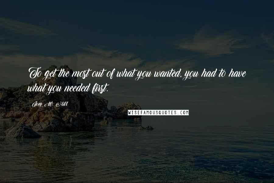 Joey W. Hill quotes: To get the most out of what you wanted, you had to have what you needed first.