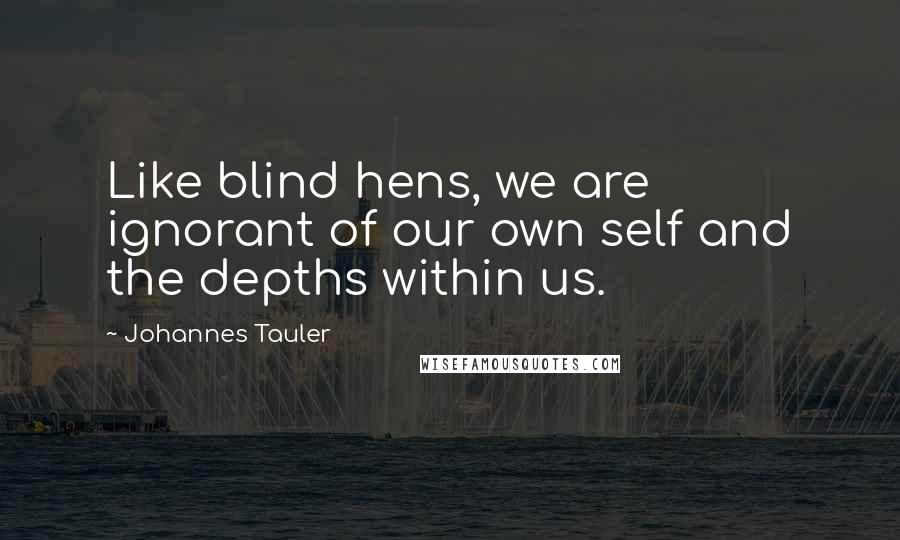 Johannes Tauler quotes: Like blind hens, we are ignorant of our own self and the depths within us.