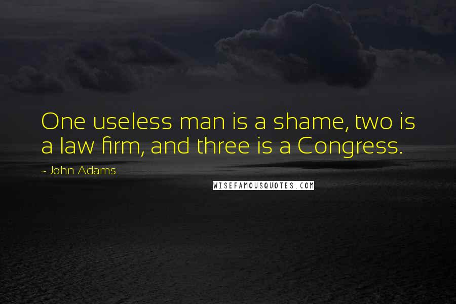 John Adams quotes: One useless man is a shame, two is a law firm, and three is a Congress.