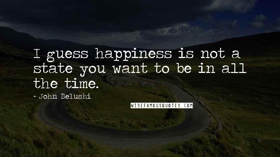 John Belushi quotes: I guess happiness is not a state you want to be in all the time.