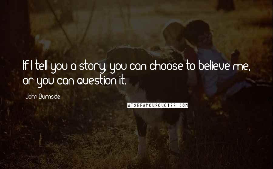 John Burnside quotes: If I tell you a story, you can choose to believe me, or you can question it.