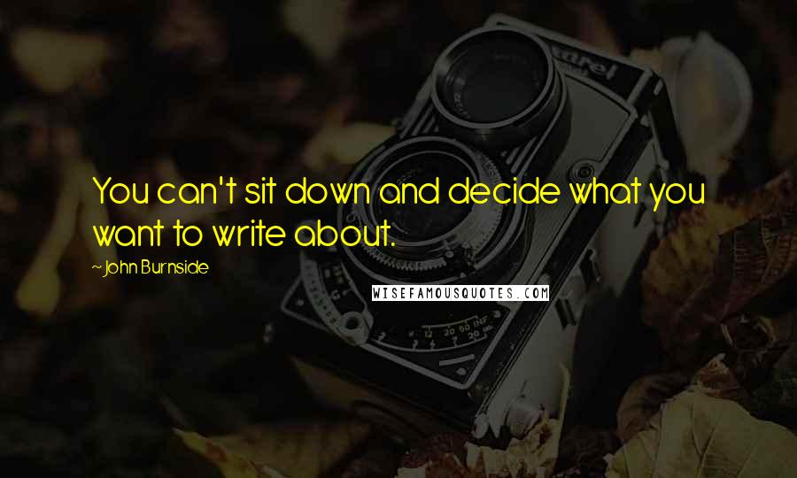 John Burnside quotes: You can't sit down and decide what you want to write about.