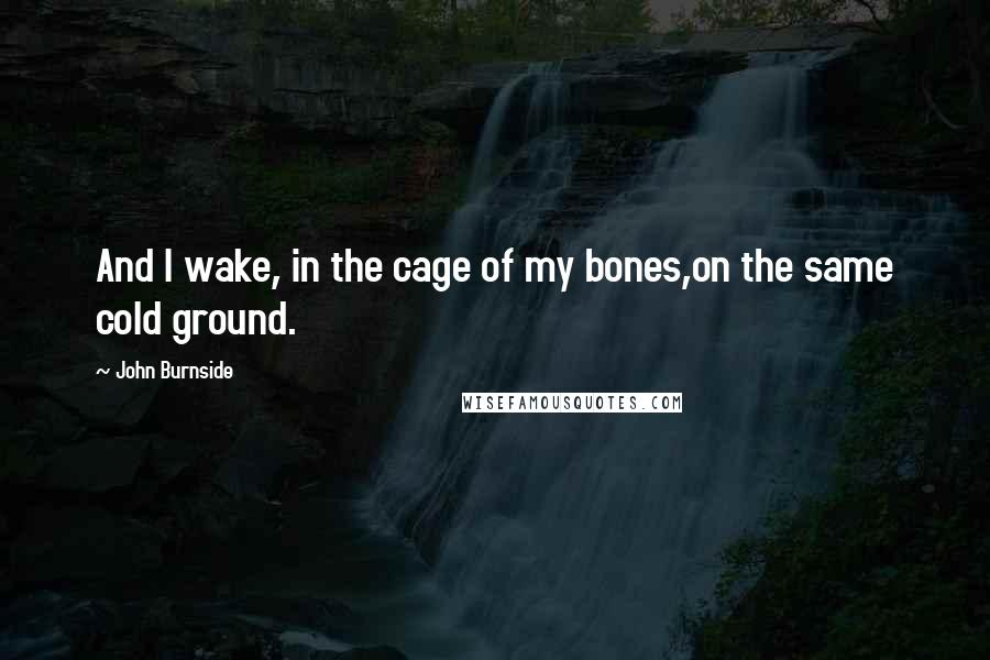 John Burnside quotes: And I wake, in the cage of my bones,on the same cold ground.