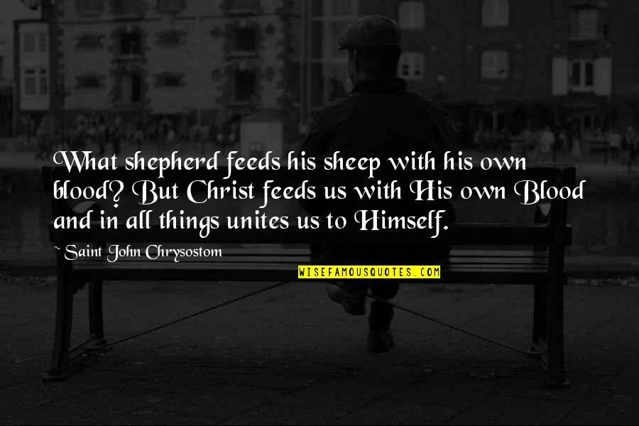 John Chrysostom Quotes By Saint John Chrysostom: What shepherd feeds his sheep with his own