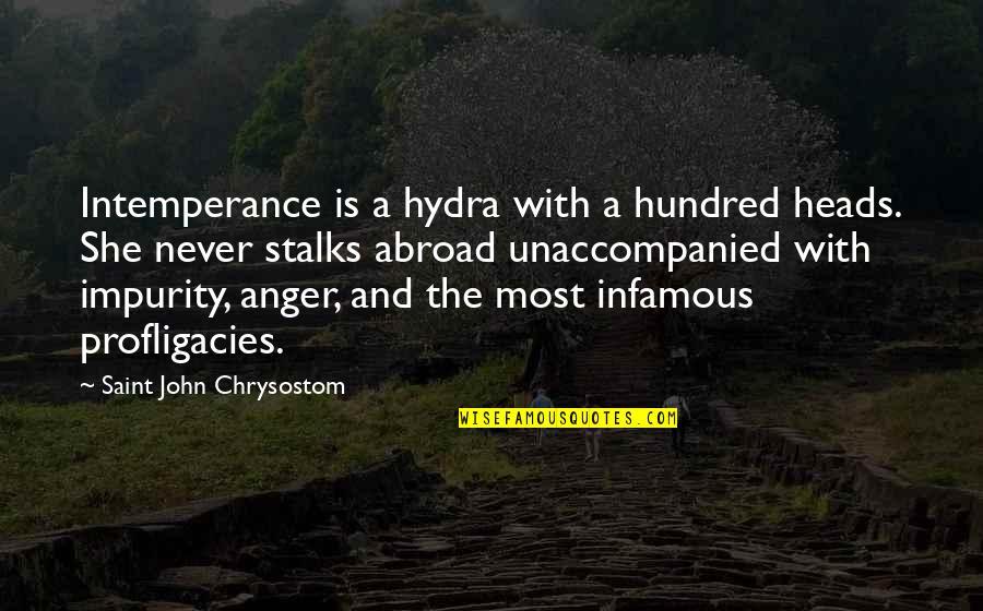 John Chrysostom Quotes By Saint John Chrysostom: Intemperance is a hydra with a hundred heads.