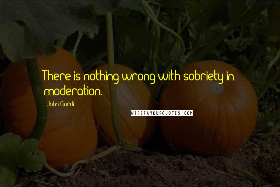John Ciardi quotes: There is nothing wrong with sobriety in moderation.