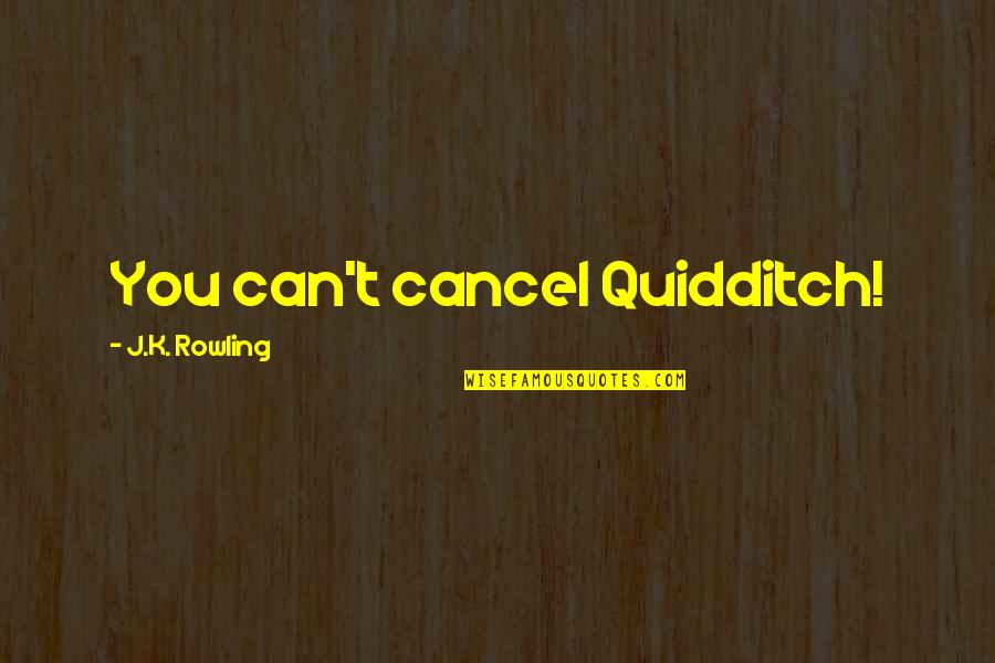 John Clerk Maxwell Quotes By J.K. Rowling: You can't cancel Quidditch!