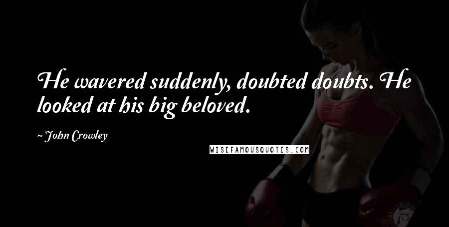 John Crowley quotes: He wavered suddenly, doubted doubts. He looked at his big beloved.