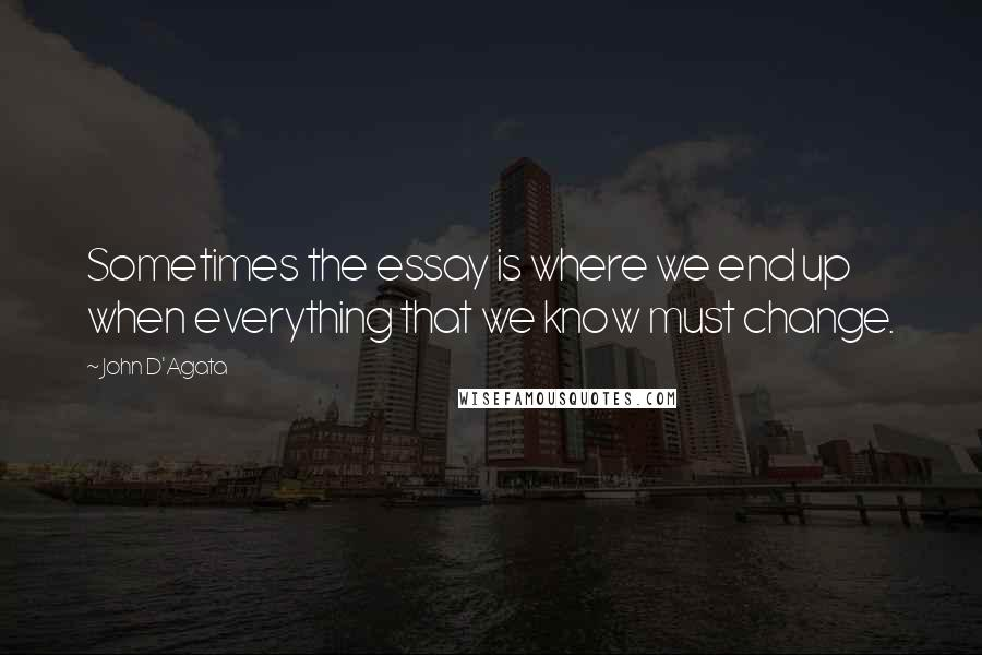 John D'Agata quotes: Sometimes the essay is where we end up when everything that we know must change.