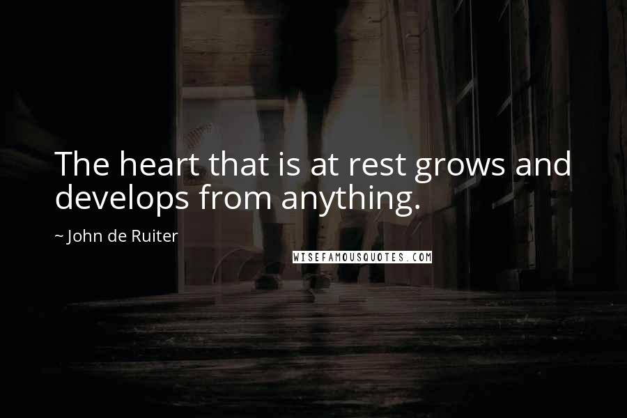 John De Ruiter quotes: The heart that is at rest grows and develops from anything.