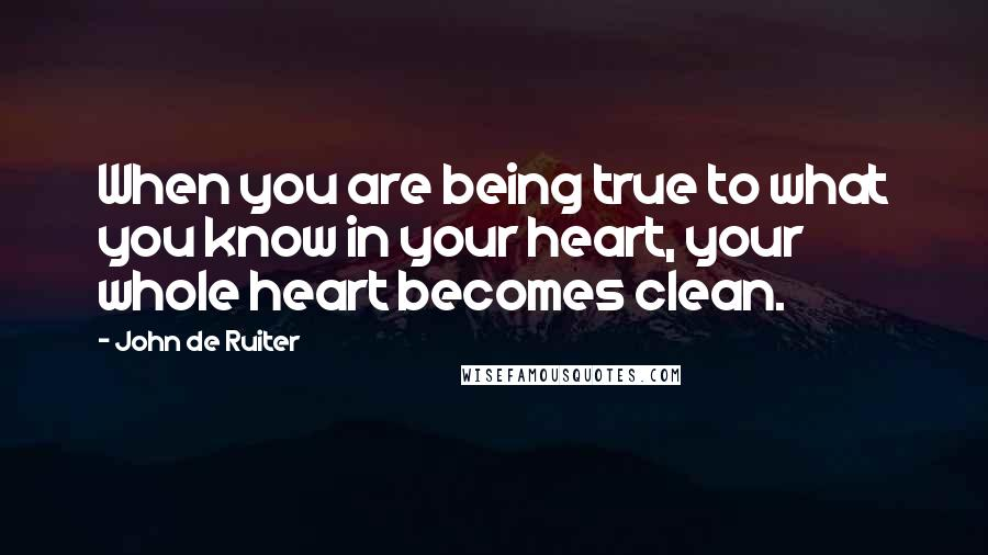 John De Ruiter quotes: When you are being true to what you know in your heart, your whole heart becomes clean.