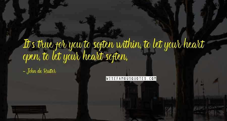 John De Ruiter quotes: It's true for you to soften within, to let your heart open, to let your heart soften.