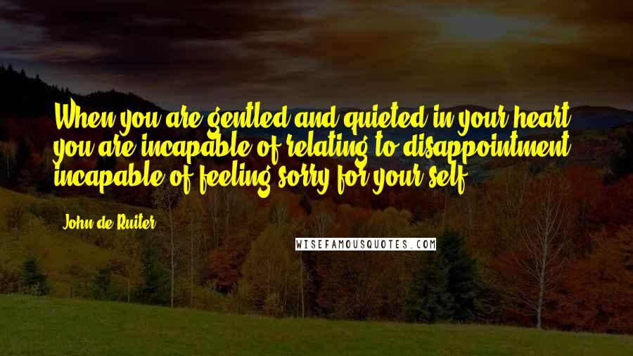 John De Ruiter quotes: When you are gentled and quieted in your heart, you are incapable of relating to disappointment, incapable of feeling sorry for your self.