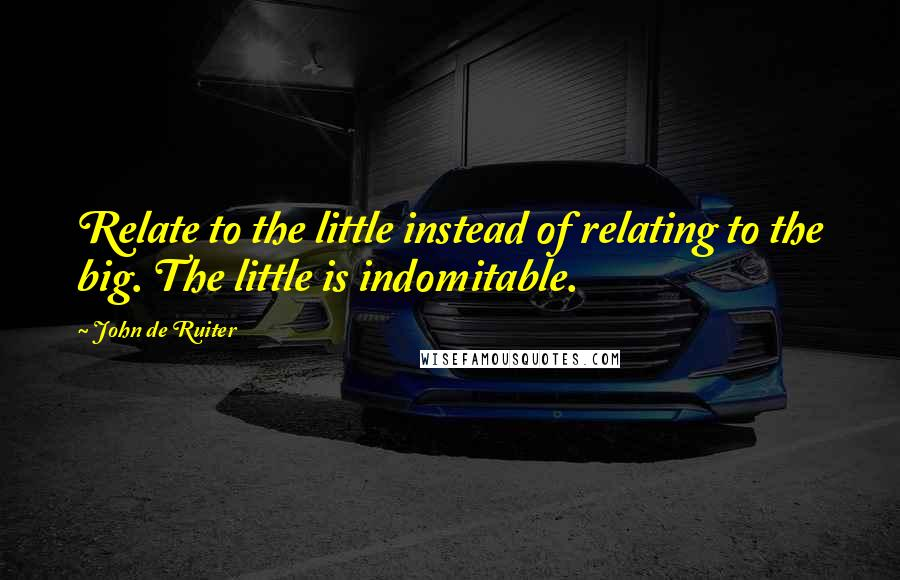 John De Ruiter quotes: Relate to the little instead of relating to the big. The little is indomitable.