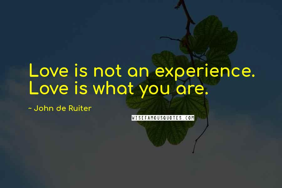 John De Ruiter quotes: Love is not an experience. Love is what you are.