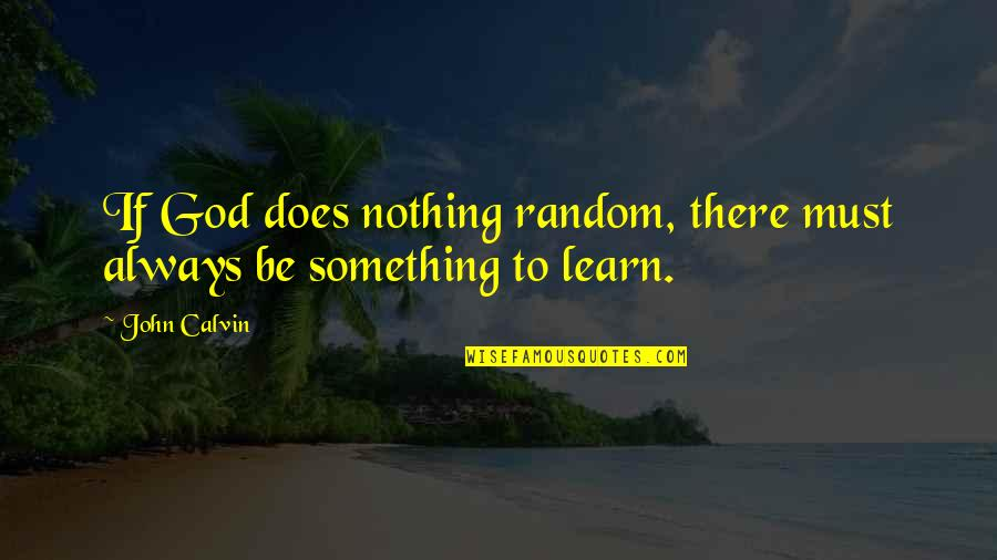 John Doe Quotes By John Calvin: If God does nothing random, there must always