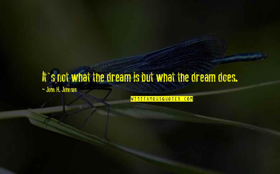 John Doe Quotes By John H. Johnson: It's not what the dream is but what