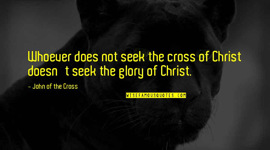 John Doe Quotes By John Of The Cross: Whoever does not seek the cross of Christ
