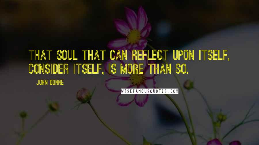 John Donne quotes: That soul that can reflect upon itself, consider itself, is more than so.