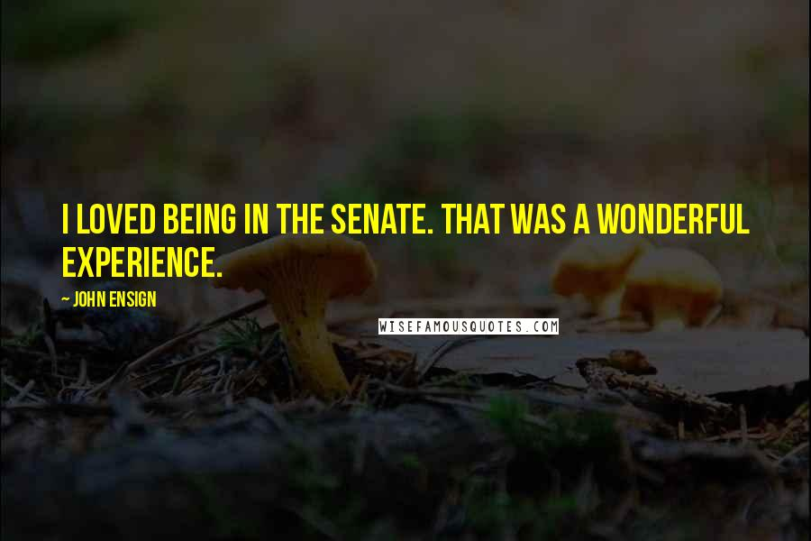 John Ensign quotes: I loved being in the Senate. That was a wonderful experience.