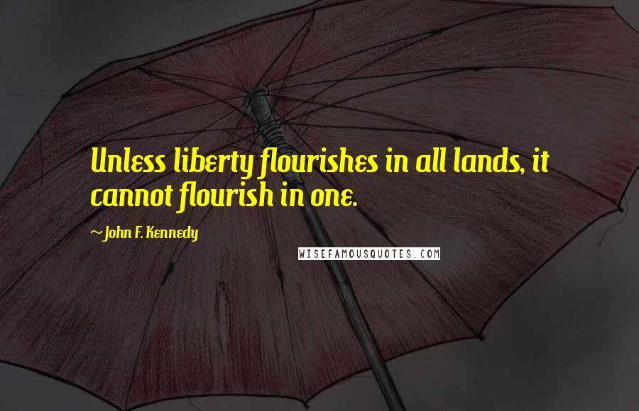 John F. Kennedy quotes: Unless liberty flourishes in all lands, it cannot flourish in one.