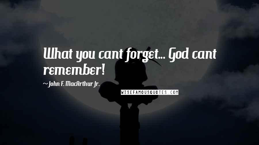 John F. MacArthur Jr. quotes: What you cant forget... God cant remember!