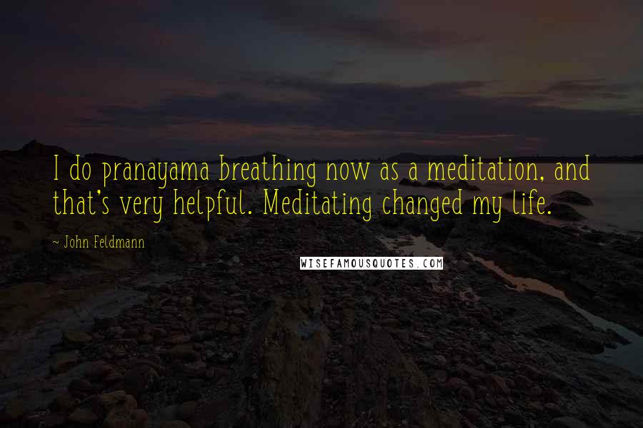 John Feldmann quotes: I do pranayama breathing now as a meditation, and that's very helpful. Meditating changed my life.