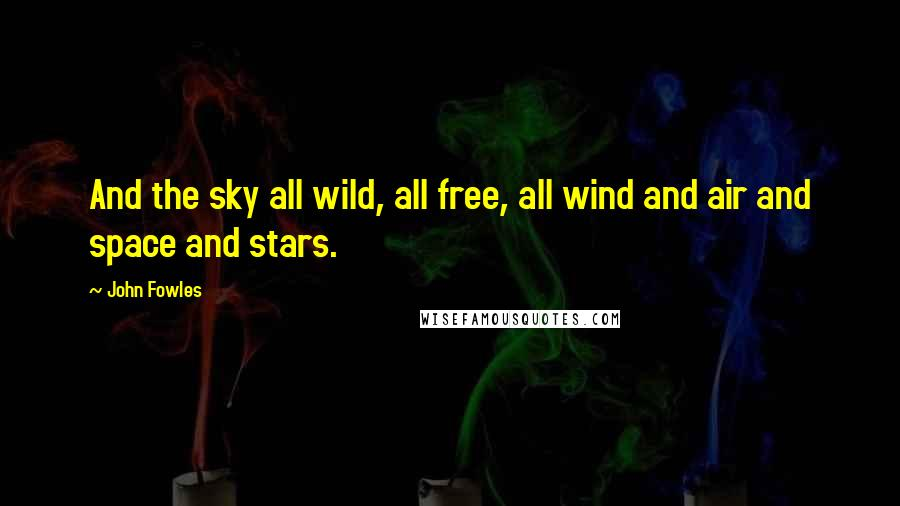 John Fowles quotes: And the sky all wild, all free, all wind and air and space and stars.