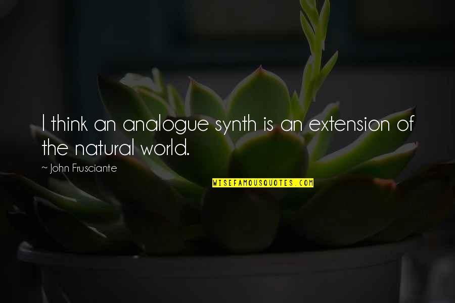 John Frusciante Quotes By John Frusciante: I think an analogue synth is an extension