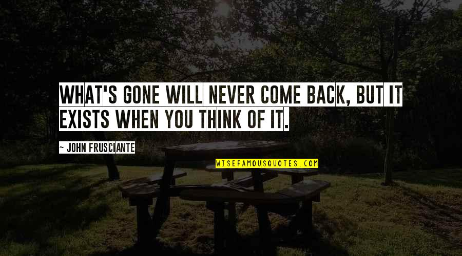 John Frusciante Quotes By John Frusciante: What's gone will never come back, but it