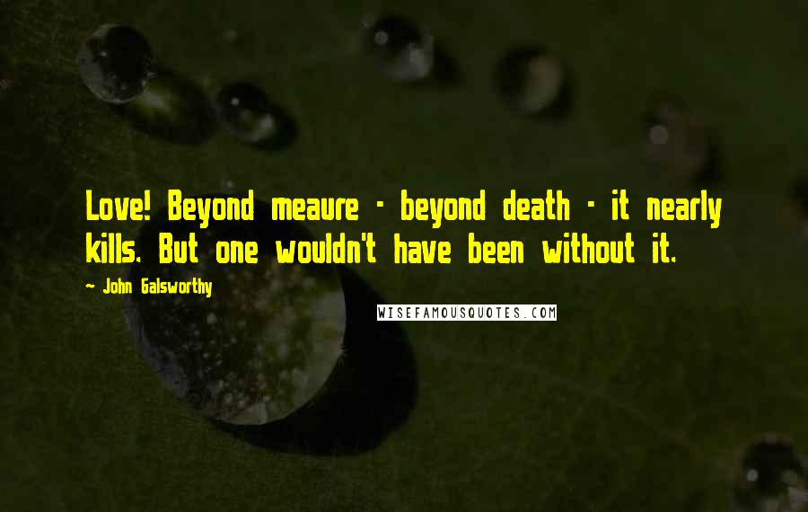 John Galsworthy quotes: Love! Beyond meaure - beyond death - it nearly kills. But one wouldn't have been without it.