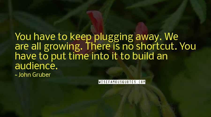 John Gruber quotes: You have to keep plugging away. We are all growing. There is no shortcut. You have to put time into it to build an audience.