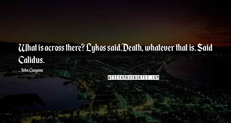 John Gwynne quotes: What is across there? Lykos said.Death, whatever that is. Said Calidus.