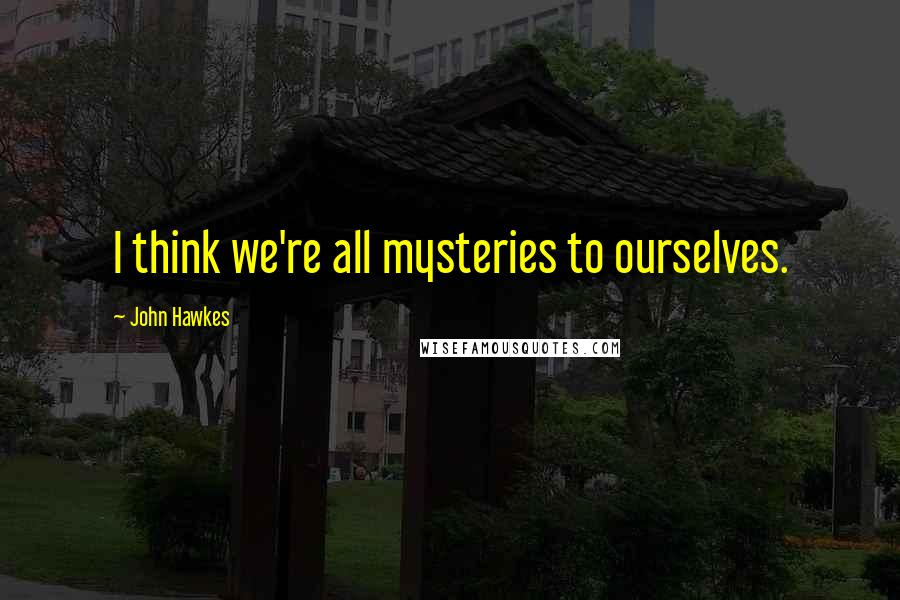 John Hawkes quotes: I think we're all mysteries to ourselves.