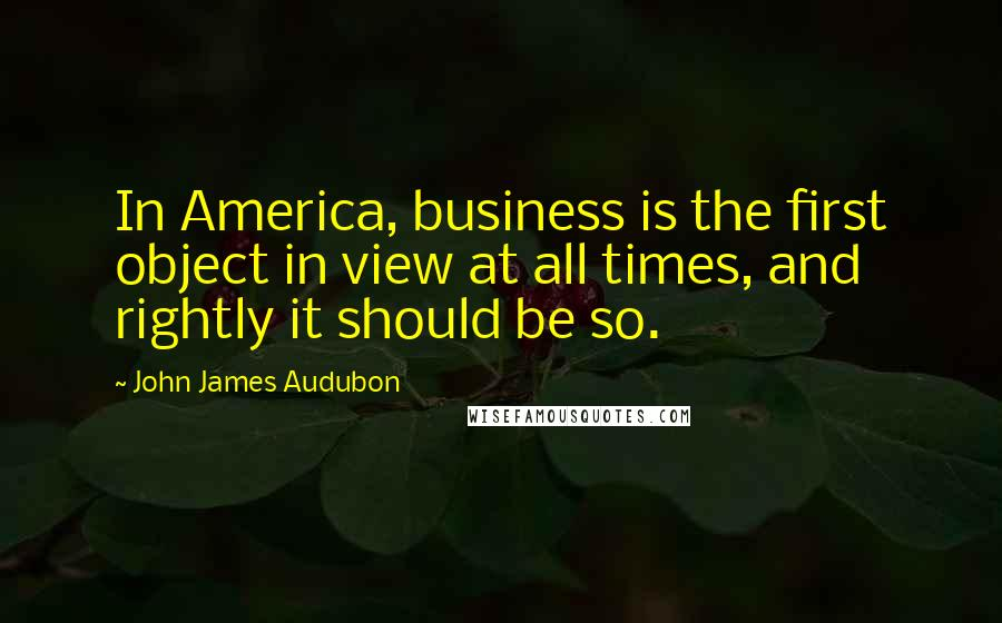 John James Audubon quotes: In America, business is the first object in view at all times, and rightly it should be so.