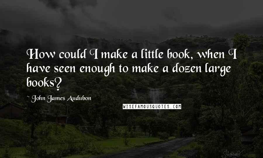 John James Audubon quotes: How could I make a little book, when I have seen enough to make a dozen large books?