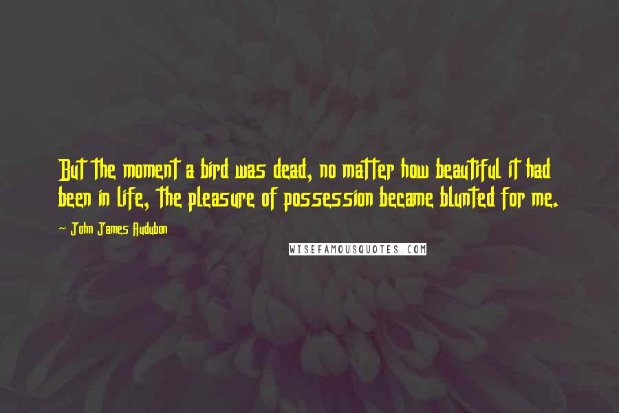John James Audubon quotes: But the moment a bird was dead, no matter how beautiful it had been in life, the pleasure of possession became blunted for me.