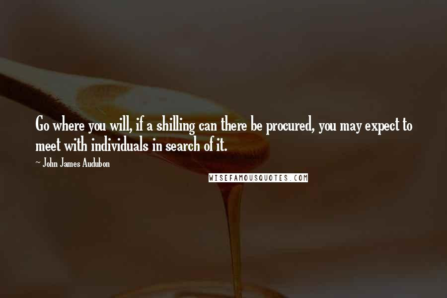 John James Audubon quotes: Go where you will, if a shilling can there be procured, you may expect to meet with individuals in search of it.