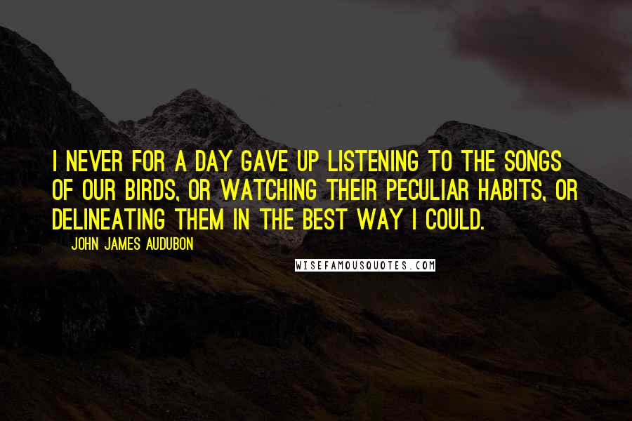 John James Audubon quotes: I never for a day gave up listening to the songs of our birds, or watching their peculiar habits, or delineating them in the best way I could.