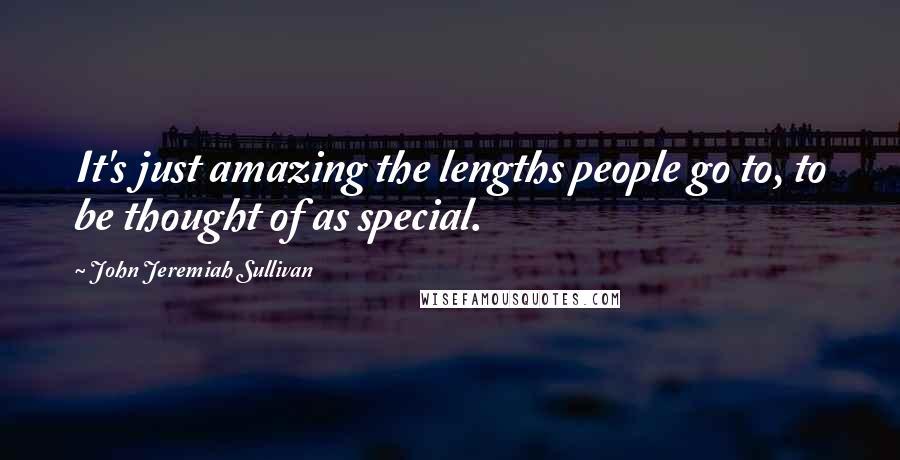 John Jeremiah Sullivan quotes: It's just amazing the lengths people go to, to be thought of as special.