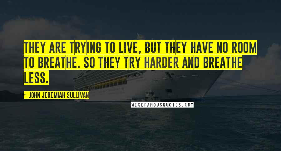 John Jeremiah Sullivan quotes: They are trying to live, but they have no room to breathe. So they try harder and breathe less.