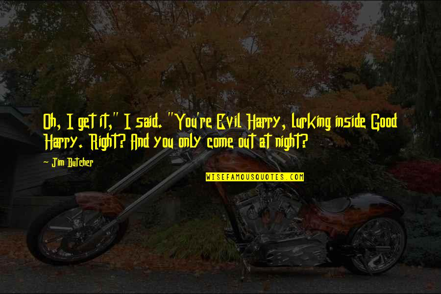 """John Kimble Quotes By Jim Butcher: Oh, I get it,"""" I said. """"You're Evil"""