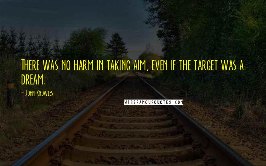 John Knowles quotes: There was no harm in taking aim, even if the target was a dream.