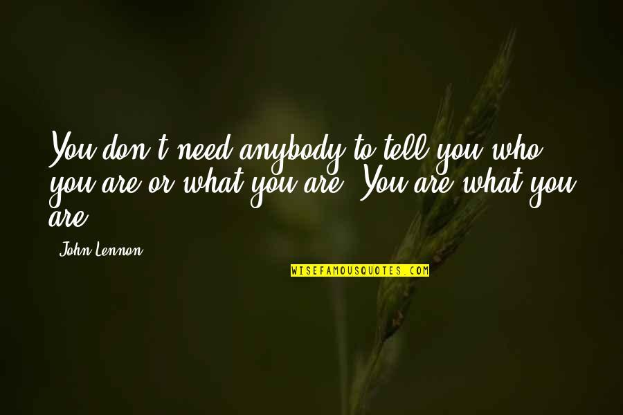 John Lennon Quotes By John Lennon: You don't need anybody to tell you who