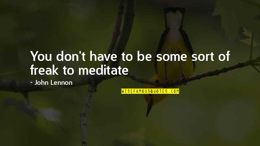 John Lennon Quotes By John Lennon: You don't have to be some sort of