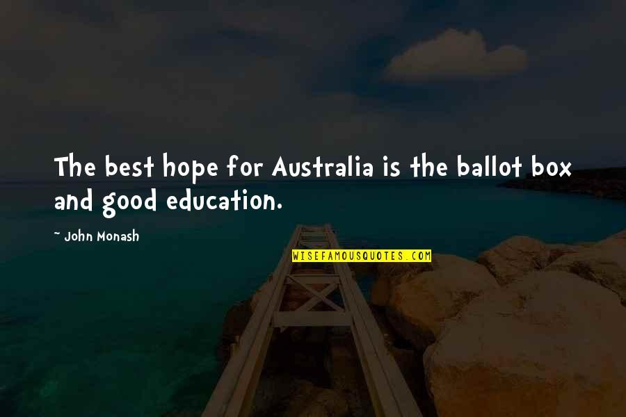 John Monash Quotes By John Monash: The best hope for Australia is the ballot