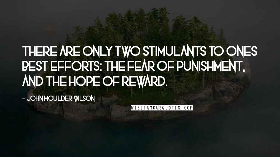 John Moulder Wilson quotes: There are only two stimulants to ones best efforts: the fear of punishment, and the hope of reward.